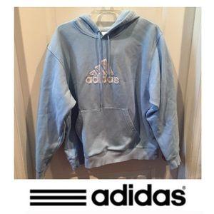 Adidas Blue & White Logo Hoodie Sweatshirt